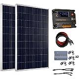 Eco-Worthy Kit de panneaux solaires hors réseau 200Watt 12V/24V–2panneaux solaires 100W polycristallin + contrôleur intelligent régulateur solaire 20A pour Système de chargement 12V ou 24V