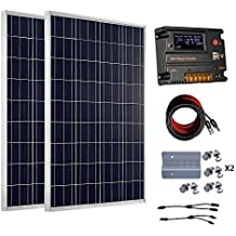 ECO-WORTHY 200 Watt 12V/24V Off Grid Solar Panels Kits: 2pcs 100W Polycrystalline Solar Panel + 20A Battery Regulator Charge Intelligent Controller for 12 Volt or 24 Volt Charging System in Home Car Boat Caravan