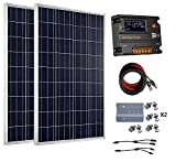 ECO-WORTHY 200 Watt 12V/24V Off Grid Solar Panels Kits - 2pcs 100W Polycrystalline Solar Panel + 20A Battery Regulator Charge Intelligent Controller for 12 Volt or 24 Volt Charging System in Home Car Boat Caravan
