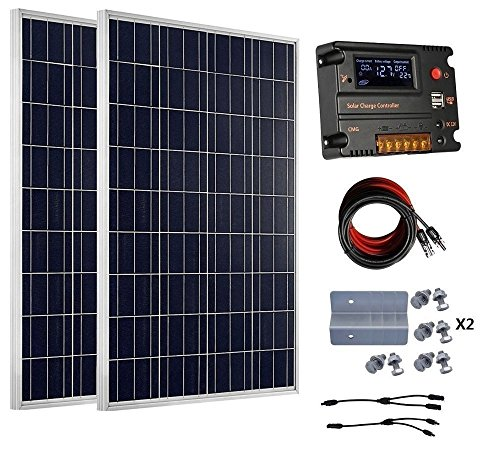 Wohnmobil Solar-panel 200 Watt (ECO-WORTHY 200 Watt 12V / 24V Off Grid Solarmodule Kits: 2pcs 100W polykristalline Solarpanel + 20A Battery Regulator Charge Intelligent Controller für 12 Volt oder 24 Volt Ladesystem in Home Car Boat Caravan)