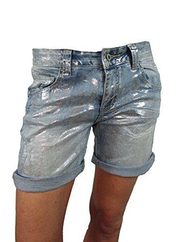 Italy Metallic Silber Baggy Denim Krempel Boyfriend Damen Shorts (L-40)