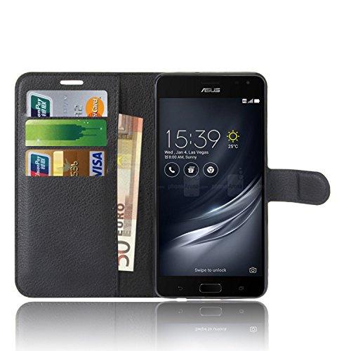 Anzhao ASUS Zenfone AR ZS571KL Hülle PU Ledertasche Brieftasche Schutzhülle für ASUS Zenfone AR ZS571KL Hülle (Schwarz)