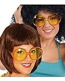 Horror-Shop Gelbe Hippie Brille für Fasching und Motto Party zum Thema 70er Jahre oder 80er Jahre