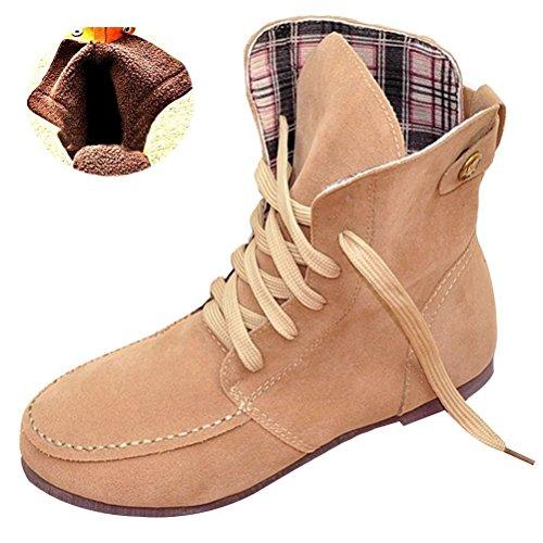 Minetom Inverno Moda Lace Up Boots Donne Scarpe Piatte Stivaletti Scarpe Fibbia Della Piattaforma Confortevole Martin Boots Beige Cotone