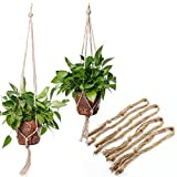 4Stück hand-weaved Seil Jute Pflanze Aufhänger Topflappen hängen Deckenleuchte Balkon Fenster Eisen Regal, 2Stück 90cm (89,9cm) und 2Stück 105cm (104,9cm), 4Beine