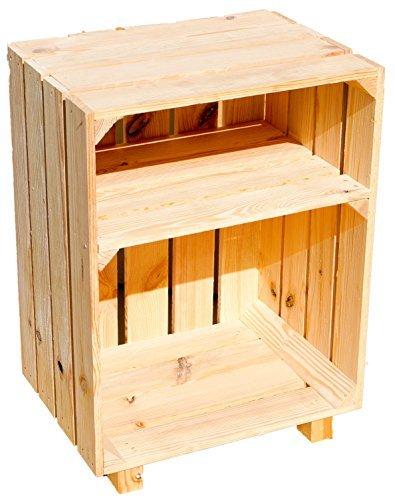 Kistenkolli Altes Land Nachttisch Abstelltisch weiß/Natur/geflammt Maße ca 30x40x55cm Regalkiste Flaschenablage Weinregal Apfelkiste/Weinkiste (Natur)