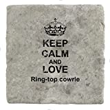 Keep Calm Love Ring-top cowrie Marble Tile Drink Coaster