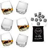Lot de 6verres à whisky Sagaform et de 9pierres à whisky en acier inoxydable - Un excellent cadeau pour les amateurs de whisky
