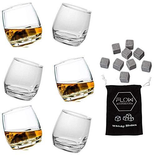 Lot de 6 verres à whisky Sagaform et de 9 pierres à whisky en acier inoxydable - Un excellent cadeau pour les amateurs de whisky