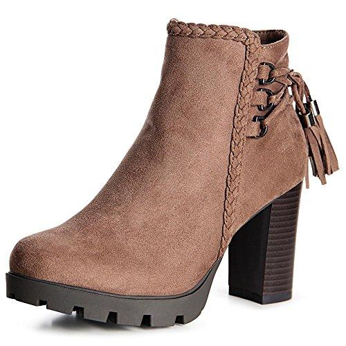 topschuhe24 997 Damen Plateau Stiefeletten Ankle Boots Khaki Braun