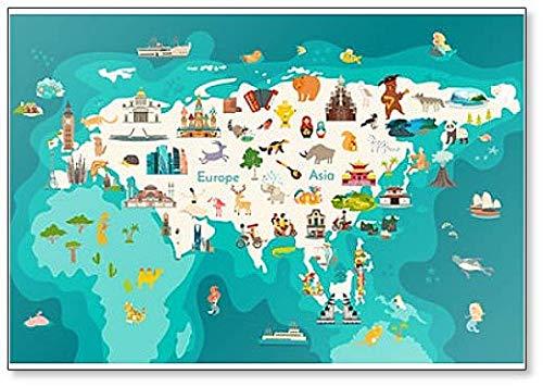Kühlschrankmagnet Eurasia Continent, Weltkarte mit Sehenswürdigkeiten Cartoon Illustration