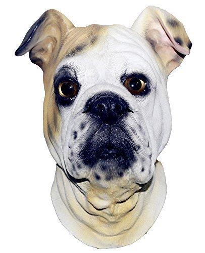 (The Rubber Plantation TM 619219291439British Bulldog Full Head Latex Hund Maske Fancy Kleid Halloween Tier Hunde Kostüm Zubehör, Unisex, ONE SIZE)