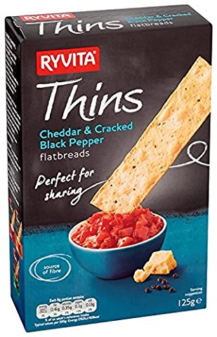 Ryvita Cheddar and Pepper Thins 125 g (Pack of 6)