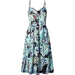 Providethebest Vestido de Las Mujeres del botón de Girasol piña impresión de la Hoja del Vestido Ocasional del Verano de la correaPasto Verde L poliéster