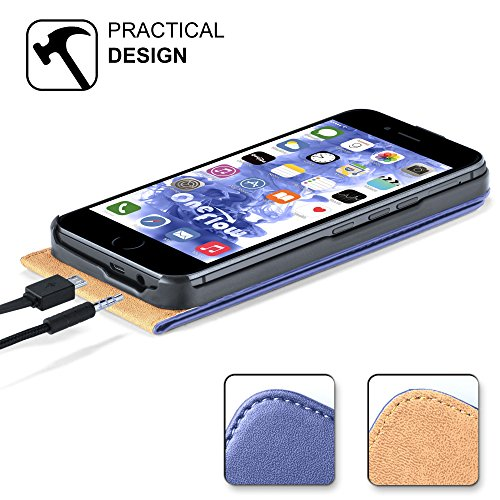 iPhone 4S Hülle Schwarz [OneFlow 360° Klapp-Hülle] Etui thin Handytasche Dünn Handyhülle für iPhone 4/4S Case Flip Cover Schutzhülle Kunst-Leder Tasche SKY-BLUE