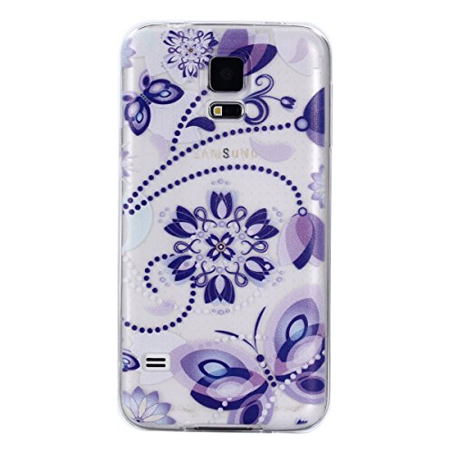 COZY HUT Samsung Galaxy S5 Custodia, Morbido TPU Cover Cristallo limpido Trasparente Slim Anti Scivolo Protezione Posteriore Case Antiurto per Samsung Galaxy S5 - Viola del Pensiero Blu