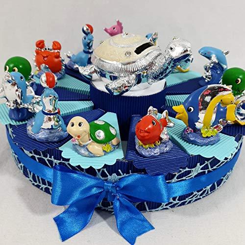 bomboniere Comunione Battesimo cresima con Torta bomboniera (Torta + 14 fette + 14 animaletti marini+ Centrale + Confetti)