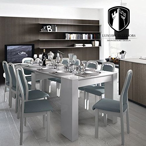 Tavolo consolle attila bianco lucido allungo 2 4 metri - Tavolo bianco lucido ...