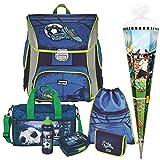 Soccer Blue - Fußball Football - BAGGYMAX SIMY Leicht-Schulranzen-Set 7tlg. Hama mit SCHULSPORTTASCHE, BROTDOSE, TRINKFLASCHE und SCHULTÜTE