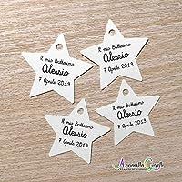 Cartellini STELLA personalizzati, 42x44 mm, (30 pezzi o più), bomboniera, star, etichette,matrimonio, battesimo, comunione, cresima, stelline tag