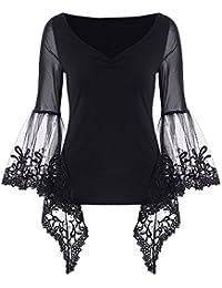 JapanAttitude T-Shirt Top Noir Manches évasée Transparent avec Dentelle et  décolleté plissé eadc96cf465