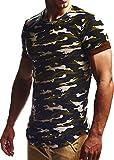 LEIF NELSON Herren oversize T-Shirt Hoodie Sweatshirt Rundhals Ausschnitt Kurzarm Longsleeve Top Basic Shirt Crew Neck Vintage Sweatshirt LN6324 S-XXL; Grš§e XL, Camouflage