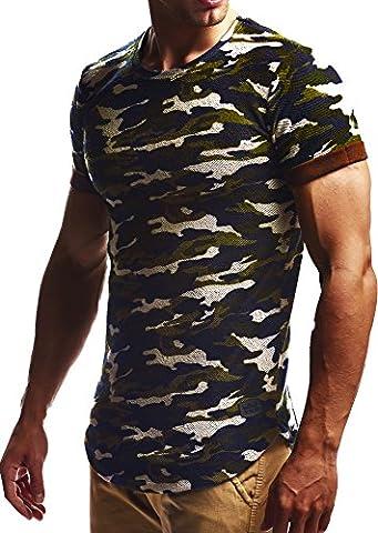LEIF NELSON Herren oversize T-Shirt Sweatshirt Hoodie Hoody LN6324; Größe XL, Camouflage