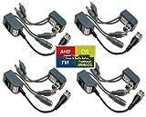 Evertech 4 Pairs Video Audio Power Balun Network Transceiver Connectors CAT5/CAT6 to BNC
