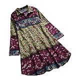 Linkay T Shirt Damen Langarm Vintage Blumen Bedruckt Tops Revers Oberteile Mode 2019 (Grün, XX-Large)