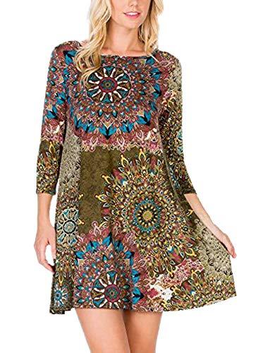 Ajpguot Sommerkleider Damen Casual Ärmellos T-Shirt Kleid Kurz Blumen Kleider Blusenkleider Strandkleider mit Taschen (8889 Armeegrün, M) -