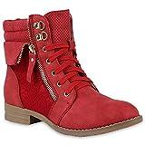Damen Schuhe Schnürstiefeletten Spitze Stiefeletten Zipper Worker Boot 144302 Rot Spitze 42 Flandell