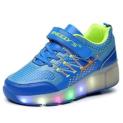 Unisex Schuhe Mit Rollen Skateboard Kinder Mädchen Jungen Led Leuchtet Sohle Leuchtend Sport Turnschuhe ohne USB Es gibt ein Rad(EU28,Blau)