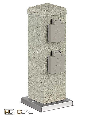 1er Set 4-fach Gartensteckdose Steinoptik eckig Außensteckdose Steckdose Verteiler IP44 300mm (eckig Stein)