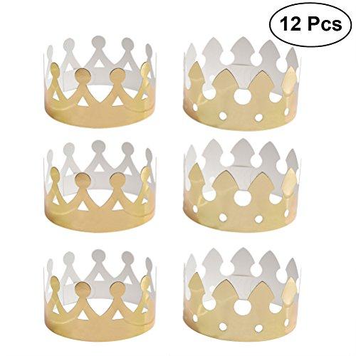Tinksky 12 stücke Golden Crown Hüte Geburtstag Hüte Caps für Kinder Erwachsene Papier Party Kronen Geburtstag Feier Partei Liefert Foto Requisiten