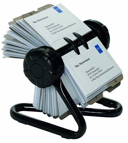 Visitenkartenkarussell für Visitenkarten - Rotationskartei passend für 400 Visitenkarten - inkl. 24-teiligem A-Z Register - mit Metallständer