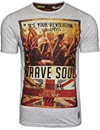 Mens New Brave Soul Spirit Union Jack Print Graphic Short Sleeve T Shirt S - XL