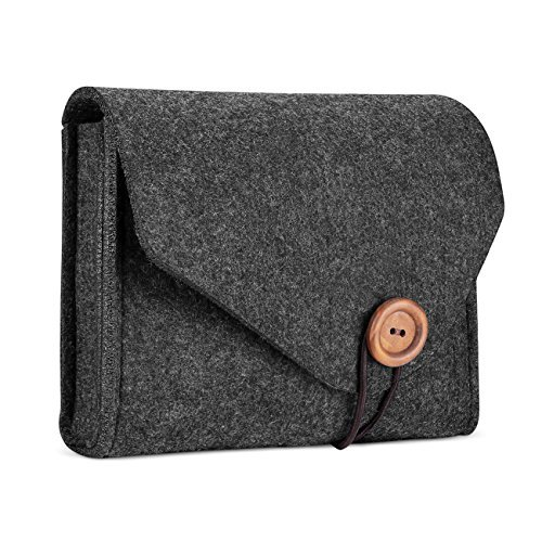 ProCase Felt Aufbewahrungskoffer Tasche, Portable Travel Electronics Zubehör Organizer Tasche für MacBook Laptop Maus Power Adapter Kabel Power Bank Handy Zubehör Ladegerät SSD HHD - Schwarz Portable Usb-power-kabel