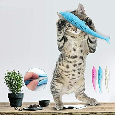 Katzenfisch-Form-Zahnbürste mit Katzenminze, Haustier-umweltfreundliches Silikon-Molaren-Stock-Zahnreinigungs-Spielzeug…