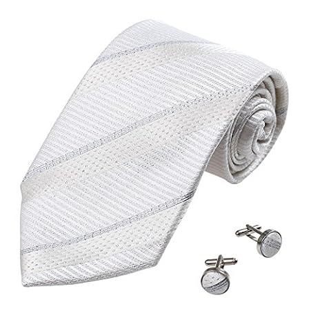 A1007 blanc rayures Argent Hommes Cravate en soie Boutons de