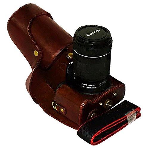 aun Ganzkörper-präzise Passform PU-Leder Kameratasche Fall Tasche Cover für Canon 700D 650D 600D Rebel T5i T4i T3i 18-55mm 18-135mm 18-200mm Lens (Lcd Für Canon T3i Monitor)