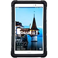 mingshore Huawei MediaPad T18.0Cover Silicona Funda con tapa correa para tablet de resistente a modelo T1–821W T1–823l S8–701u S8–701W 8.0Pulgadas Honor Tablet Negro