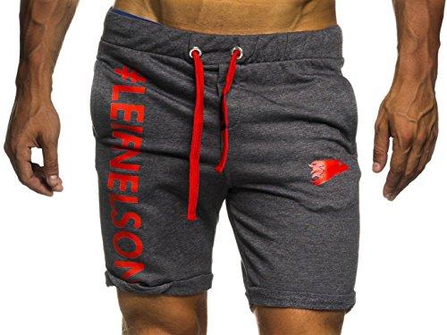 LEIF NELSON Gym Herren Shorts Kurze Fitnesshose - Jogginghose | Moderne Schwarze Männer Kurze Trainingshose Top | Herren Sport-Hose für Bodybuilding Fitness | 6296 Anthrazit-Rot X-Large -