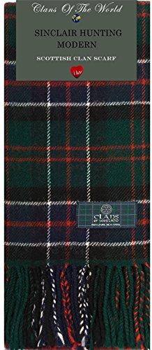 I Luv LTD Sinclair Hunting Modern Tartan Clan Scarf 100% Soft Lambswool Tartan Lambswool Scarf
