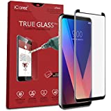 iCarez [Full Coverage Black Glass ] Screen Protector for LG V30 / LG V30S ThinQ Highest Quality [Case Friendly] Easy Install [ 1-Pack 0.33MM 9H 2.5D] with Lifetime Replacement