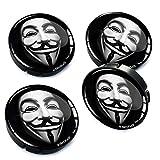 Skino 4 x 60mm Coprimozzi Copricerchi Tappi Ruote Anonymous con 3D Gel Adesivi Resinati Stickers Auto Logo Silicone Autoadesivo Stemma Adesivo C 6