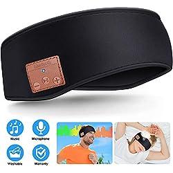 Casque de Sommeil Bandeau Bluetooth, Bluetooth sans Fil 5.0 Casque Sport Unisexe Bandeau Écouteurs, Bandeau de Musique pour Faire des Exercices, Jogging, Yoga, Insomnie, Voyages Aériens (Noir)