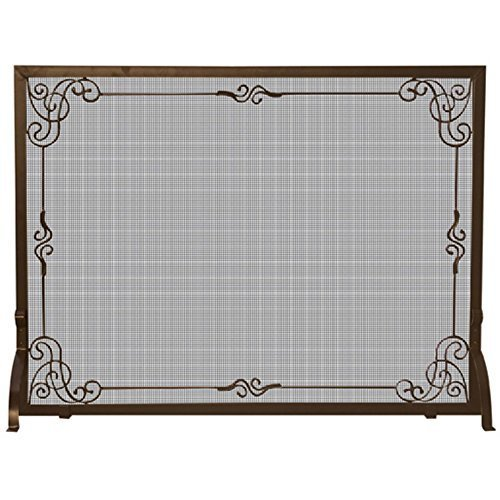 UniFlame Single Panel Bronze Finish Screen with Decorative Scroll by blue rhino -