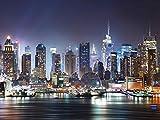 Artland Qualitätsbilder I Glasbilder Deko Glas Bilder 80 x 60 cm Städte Amerika NewYork Foto Blau F1IL New York City Times Square