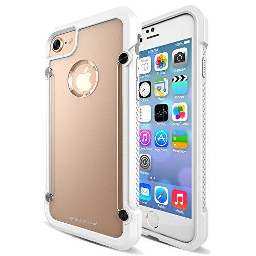 Coque Apple iPhone 7, TECHGEAR® iPhone 7 (4.7 Pouces) [FUSION ARMOUR] Coque Protective Svelte Anti-Choc (Noir Entier) Blanc/Givré (FUSION ARMOUR)