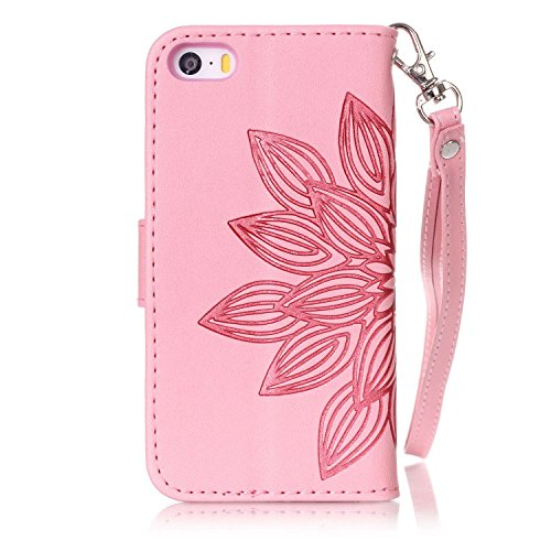 Cover iPhone SE, Custodia per Apple iPhone 5/5S, ISAKEN Custodia Fiore e Ragazza Design PU Pelle Book Folding Case Glitter Bling Cover, Supporto Stand e Porta Carte Integrati Portafoglio Flip Cover co fiori:rosa